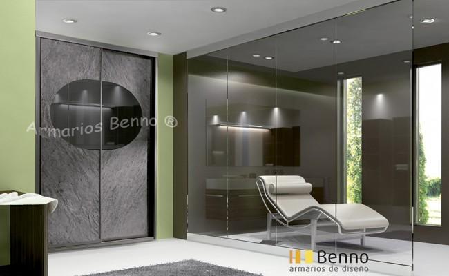 Serie Elite 120 – Perfil Acero Panel Tablero especial piedra Oceangreen incrustacion espejo gris