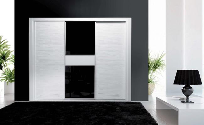 Serie Elite 121 – Perfil Blanco Panel Pantografiado Blanco Brillo y cristal galaxia