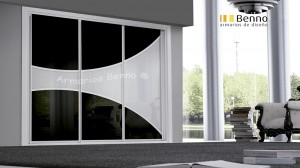 Serie Elite 126 - Perfil Blanco Panel Combinado cristal galaxia H curvo